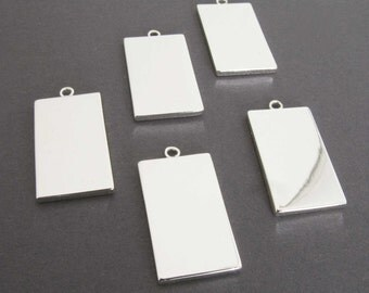 Silver Plated Rectangle Findings - Silver Plated Drops