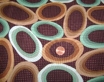fabric    Brown With Large Circles In Brown And Tial  2 Yards  FREE SHIPPING