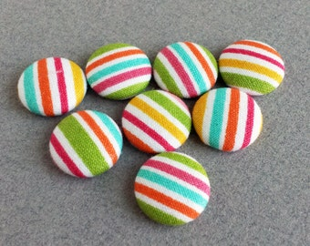 rainbow stripe fabric covered buttons - made in the USA -
