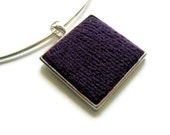 Aubergine Square Necklace on Silvered Base
