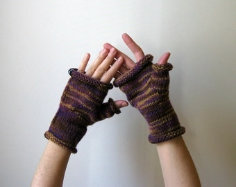 Fingerless Gloves, Variegated Purple, Woman Gloves, Fingerless Mittens, Fingerless Mitts, Hand Warmers, Wool Gloves, Winter Accessories