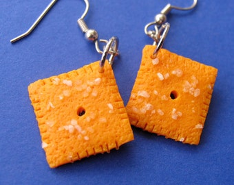 Cheese it earrings - cheeze it earrings - cheeze it jewelry - Cheezy Cracker Earrings - food jewelry - food earrings -