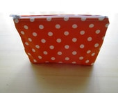 Polka Dots Bright Tangerine Orange - Large Zippered Pouch