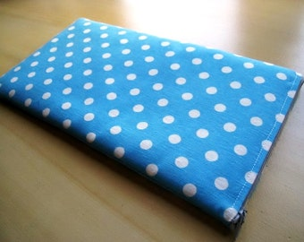 Polka Dots on Baby Blue  -  Apple Magic Keyboard Sleeve, Apple Keyboard Case, Samsung Wireless Keyboard Sleeve - Padded and Zipper Closure