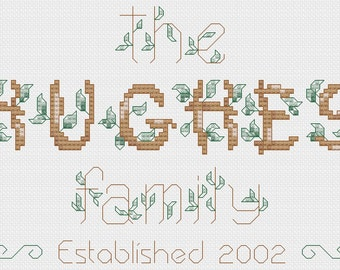 Rustic Family Name cross stitch pattern - personalized PDF