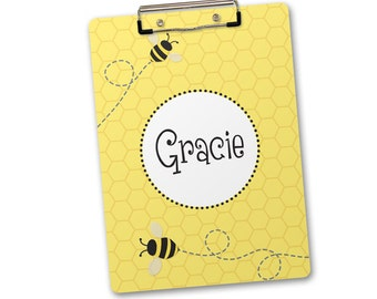 Personalized, Monogrammed Clipboard - bee, bumblebee with honeycomb