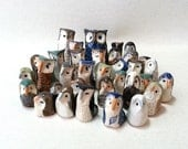Ceramic Miniature Owls, Flock of Twelve Surprise Owls in a Gift Box