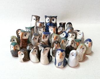 Ceramic Miniature Owls, Flock of Twelve Surprise Owls in a Gift Box