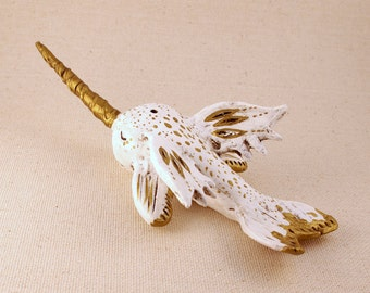 Clay Narwhal Sculpture, Gold and White Flying Narwhal Figurine