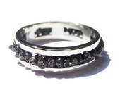 Valentines Day Gift for Her Women Black Diamond Ring Sterling Silver Raw Uncut Wedding Band Jewellery