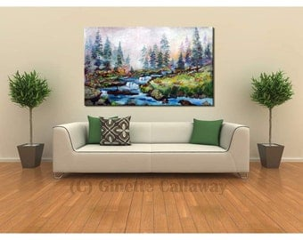 Mountain Summer Landscape - SALE Unstretched 64 x 38 Inches ORIGINAL Painting by Ginette