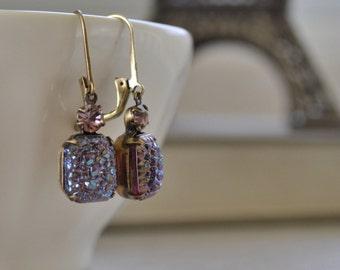 Lavender Drusy Estate Earrings, Lavender Druzy, Amethyst Rhinestone, Iridescent Glass, Antiqued Brass Lever Back Earrings