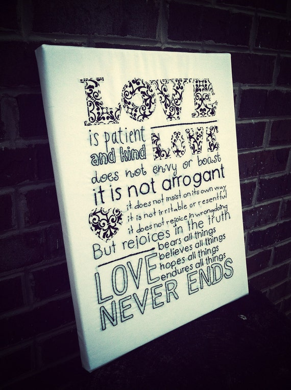 love is 1 corinthians 13 hand embroidered wall art subway. Black Bedroom Furniture Sets. Home Design Ideas