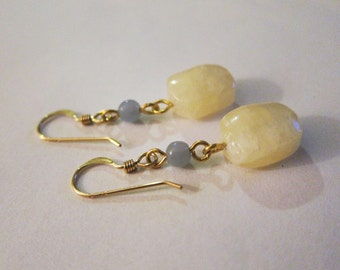 Yellow Calcite and Blue Angelite Gemstone Earrings