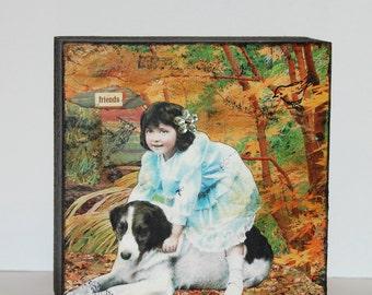 Friends---Original Mixed Media Collage Art