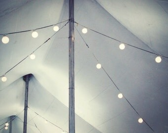 Gray abstract photograph carnival wall art black white circus tent print silver string lights - Big Top Tent