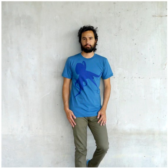 SALE - Mens tshirt - Small - eco friendly fashion - octopus print on American Apparel teal blue organic cotton t shirt - Sucker for Ink