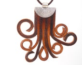 Leather Fringe Octopus Necklace, Unique Leather Jewelry, Handmade, Women's Leather Accessories