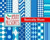 Blue and Aqua Digital Papers - 16 sheets - Instant Download - for invites, card making, digital scrapbooking