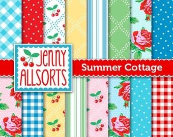 Summer Cottage Digital Scrapbook Papers in Vintage Colors - for invites, card making, digital scrapbooking
