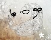 Girl with bird, beautiful girl illustration, little girl room decor, bird art