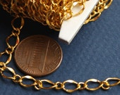 10ft of Gold plated  hammered soldered chain 5X8mm