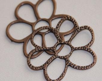 6 pcs of antique Copper  flower links 40x36mm