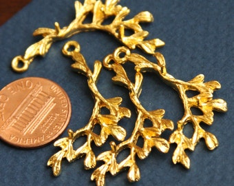 10 pcs of gold plated leaf branch pendant 21x34mm