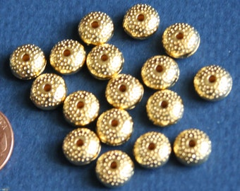 30 pcs of Gold plated Donut spacer beads 8x5mm, spacer beads, metal spacer beads, metal beads