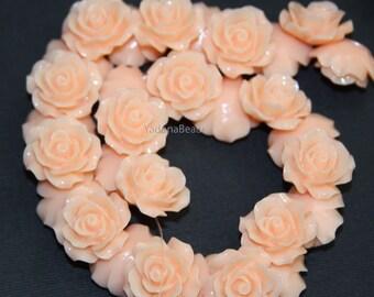 10 pcs of  Resin flower bead 18mm- Peach
