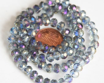 18 inch Strand of electro plated glass faceted rondelle beads 4x6mm Silver AB