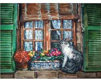 CAT & WINDOW  With Green Shutters - 11x15 original painting landscape watercolor OOAK, Kitten, Cat, Feline, Window, Shutters, Flowers