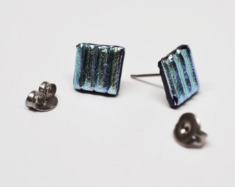 Blue stripe dichroic glass square mini stud style earrings
