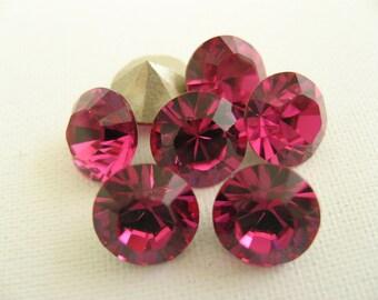 12 Fuchsia Foiled Swarovski Crystal Chaton Stone 1088 39ss 8mm
