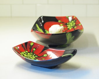 Serving Dishes, Oblong Dish, Pottery Serving Bowls Red Poppy Lg & Sm Scooped Bowl Set of 2, Family Style Serving August Birthday Gift