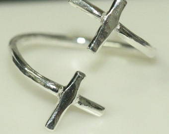 Double Cross Ring Size 7 Two Crosses in Fine Silver Faith Jewelry Ring Maggie McMane Designs Ready to Ship