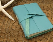 Aqua Leather Journal and Sketchbook, a Caribbean Sea Melody