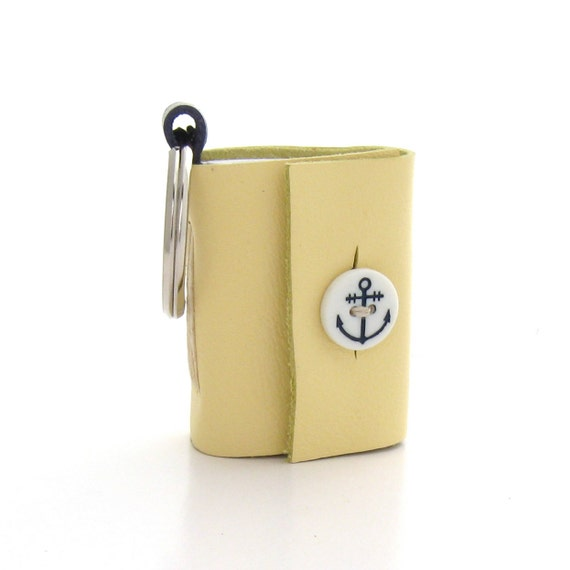 Summer Nautical Leather Keychain, A Yellow Leather Key Ring Journal