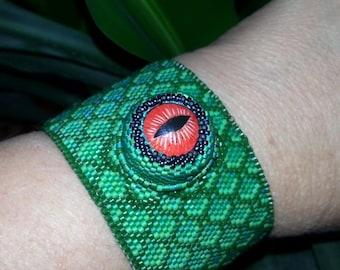 Eye of the Dragon Beaded Cuff Bracelet OOAK