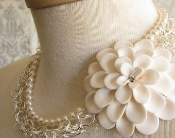 Polymer Clay & Pearl Bridal Necklace with sterling silver