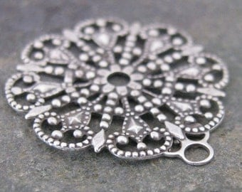 New - Round Filigree 1 Rings Jewelry Findings Old World Silver 1022 -6 pcs