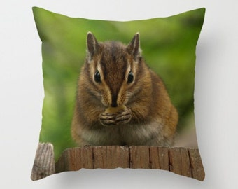 Chipmunk Pillow Cover Woodland Photograph Forest Dweller Sweet Things Green Forest Natural History Chipmunk Eating On A Fence