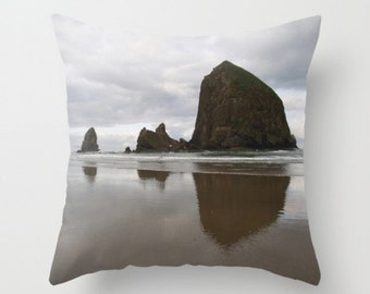 Cannon Beach Pillow Cover Beach Decor Marine Sea Ocean Life Water Rocks haystack Rock The Beach Life