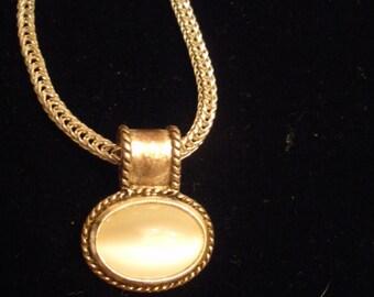 Pretty Silver Tone Necklace with White Stone