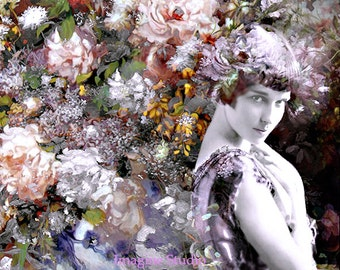Photography, Portrait, Print, Giclee Print, Photomontage, Collage, Flowers Bouquet, Springtime, Wall Art, Affordable Home Decor