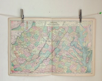 antique double page map Virginia and West Virginia 1899