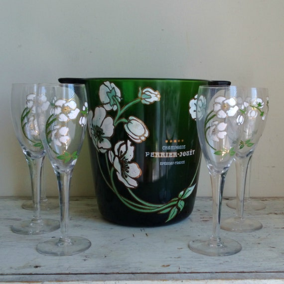 Vintage Perrier Jouet Champagne Bucket And Six Glasses