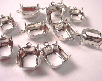 16 Silver Tone Octagon Prong Settings 12x10 1 Ring Open Back