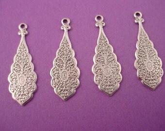 4 silver  ox art nouveau scalloped edge floral charms 28mm