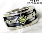 Silver Wedding Ring Green Peridot Stone Engagement Band Mens Unisex Moorish Gothic Size 8
